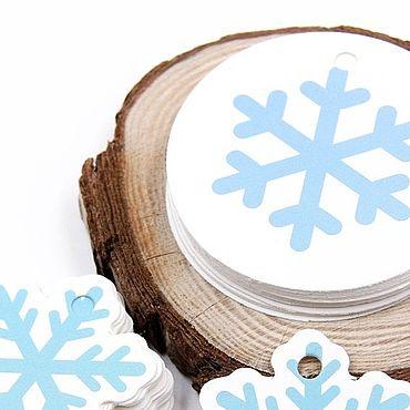 Материалы для творчества ручной работы. Ярмарка Мастеров - ручная работа Этикетка - снежинка голубая. Handmade.