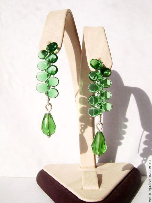 Серьги ручной работы. Ярмарка Мастеров - ручная работа. Купить Серьги из серебра и чешского стекла-зелёные. Handmade. Зеленый