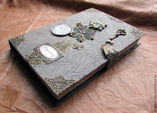 Блокноты ручной работы. Ярмарка Мастеров - ручная работа. Купить Memory. Handmade. Серый, металлическая фурнитура
