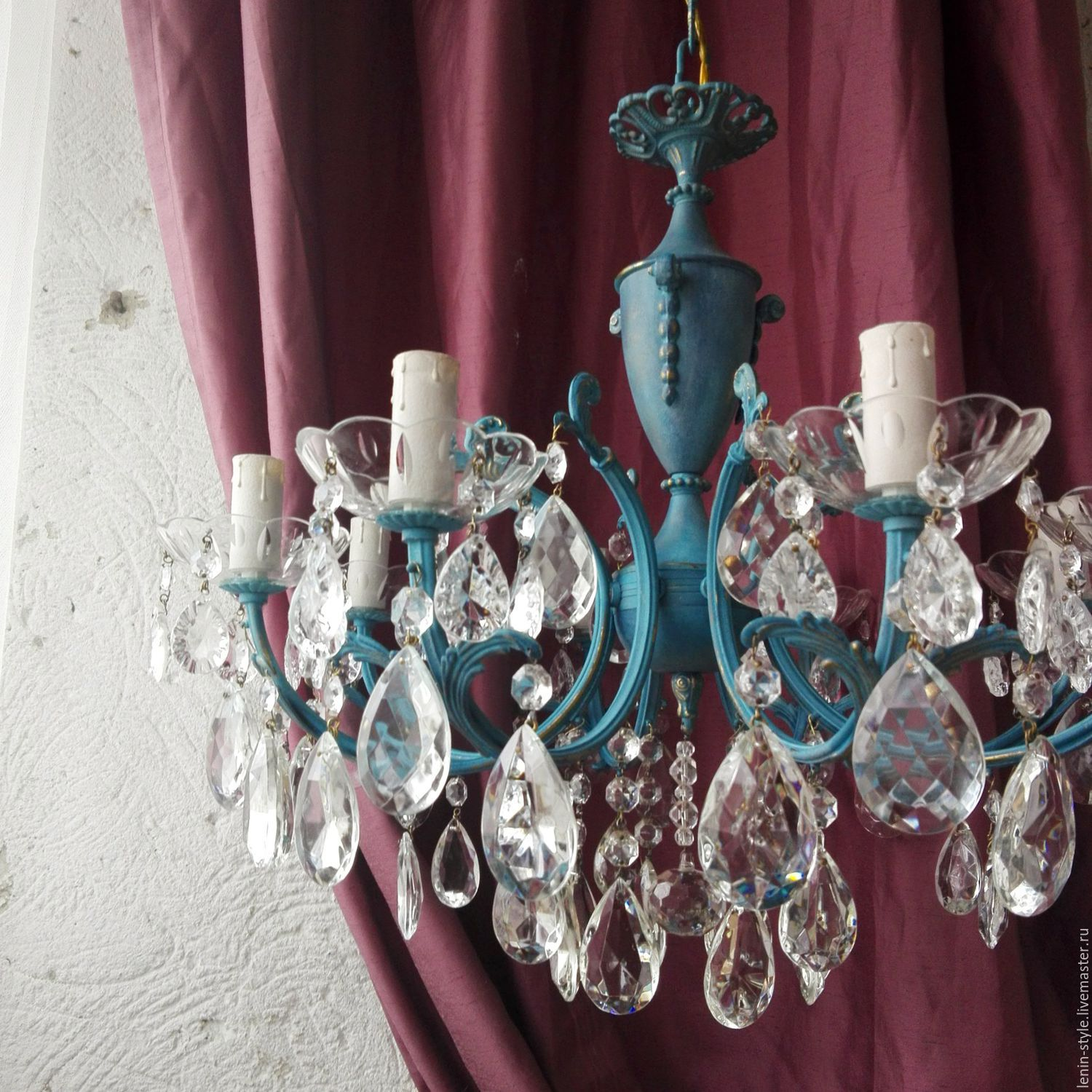 Sold! Luxurious blue chandelier with pendants. Bronze. Italy, Vintage interior, Odessa,  Фото №1