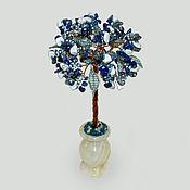 Цветы и флористика handmade. Livemaster - original item A tree made of lapis lazuli and cacholong (milk opal)