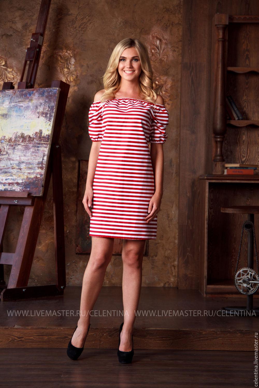 51e80c985cbe Короткое летнее платье в полоску – купить в интернет-магазине на Ярмарке ...