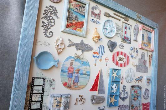 Море, морской стиль.Путешествия, морская романтика. Картины и панно. Панно для интерьера в морском стиле. Синий, голубой, красный, полоска, горошек.Корабли, лодки, рыбы, ракушки.