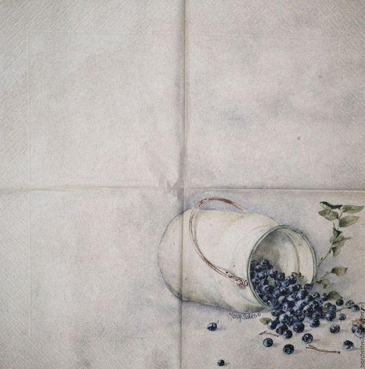 Декупаж и роспись ручной работы. Ярмарка Мастеров - ручная работа. Купить Салфетка для  декупажа  акварели МОНА СВАРД ( черника). Handmade.