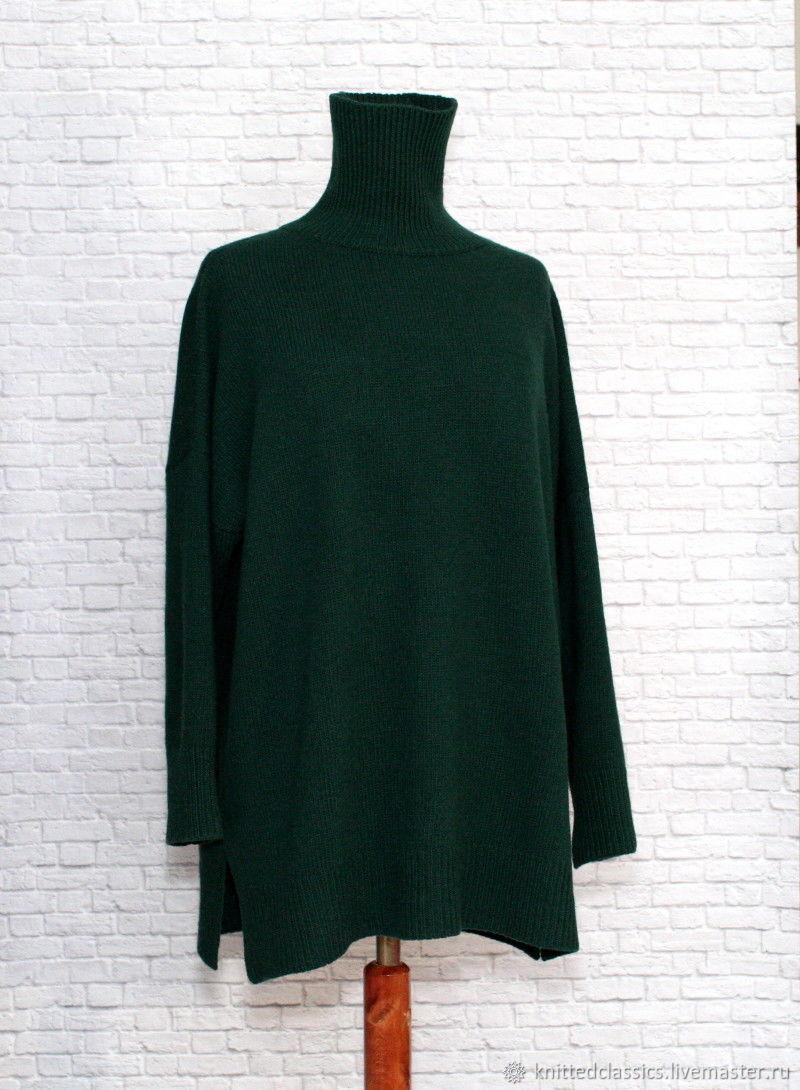 tunic:: Tunic-sweater oversize dropped shoulder cashmere sea wave, Tunics, Permian,  Фото №1