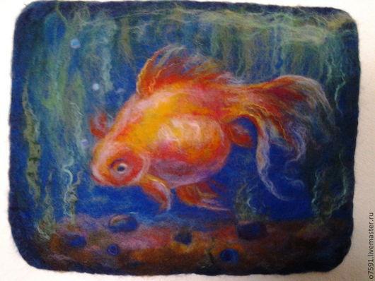 """Пейзаж ручной работы. Ярмарка Мастеров - ручная работа. Купить картина  шерстью """"Золотая рыбка"""". Handmade. Золотая рыбка, животные"""