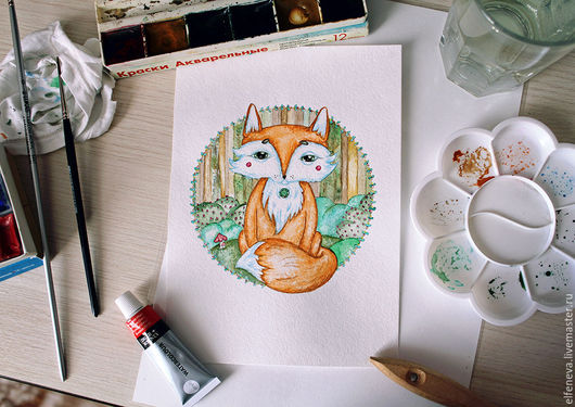 """Животные ручной работы. Ярмарка Мастеров - ручная работа. Купить Акварель """"Лисёнок"""". Handmade. Лис, акварель, акварельный рисунок, рисунок"""