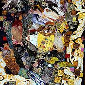 Картины и панно handmade. Livemaster - original item Painting in the technique of collage Klimt. Erotic flight. Handmade.