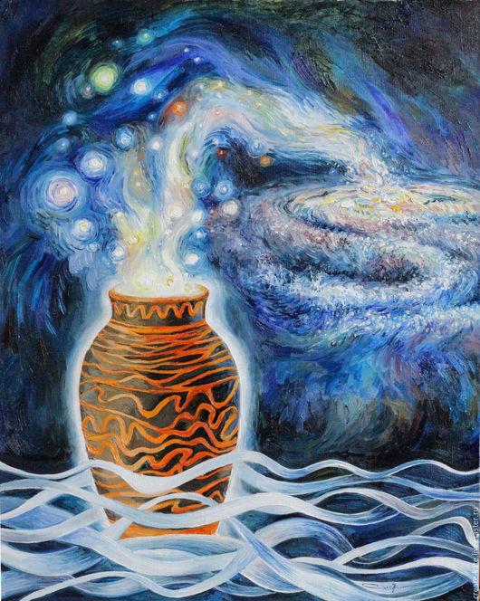 Абстракция ручной работы. Ярмарка Мастеров - ручная работа. Купить Млечный путь. Абстракция маслом.. Handmade. Тёмно-синий, звезды