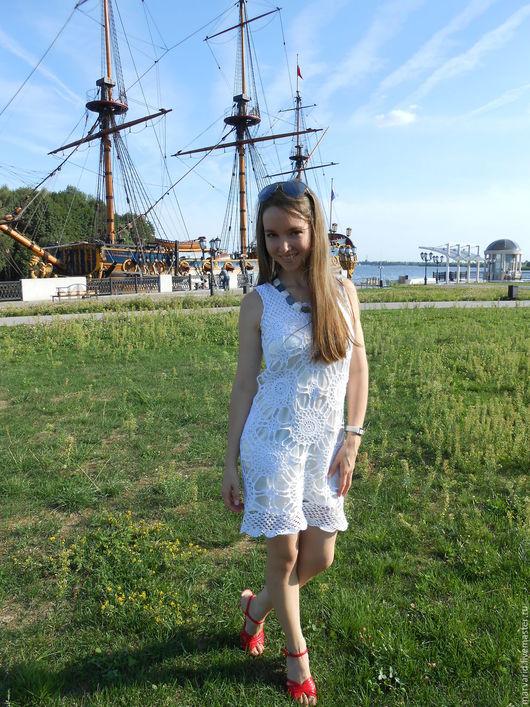 Платья ручной работы. Ярмарка Мастеров - ручная работа. Купить белое платье крючком. Handmade. Белый, пряжа хлопок 100%