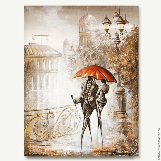 Город ручной работы. Ярмарка Мастеров - ручная работа. Купить Картина маслом Свидание под дождем  Картина под заказ в раме. Handmade.
