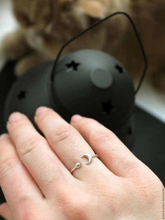 Кольца ручной работы. Ярмарка Мастеров - ручная работа. Купить космическое кольцо. Handmade. Серебряный, луна, солнце, фаланговые кольца