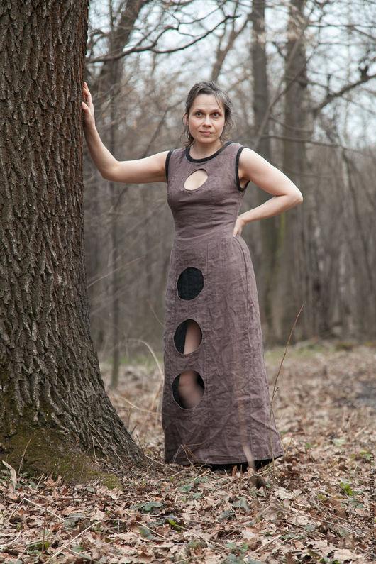 Платья ручной работы. Ярмарка Мастеров - ручная работа. Купить Платье Кофе. Handmade. Бежевый, необычное платье, лён 100%