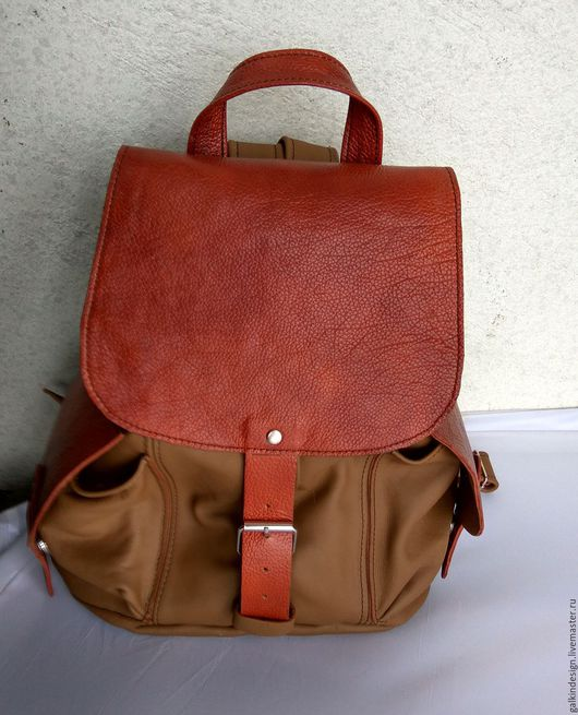 Рюкзаки ручной работы. Ярмарка Мастеров - ручная работа. Купить Женский кожаный рюкзак. Handmade. Комбинированный, кожаный рюкзак