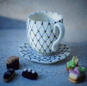 """Подарки к праздникам ручной работы. Ярмарка Мастеров - ручная работа Чайная пара """"Кобальтовая сетка"""". Handmade."""