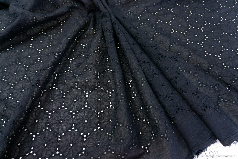 Хлопок с вышивкой черный, Ткани, Сочи,  Фото №1