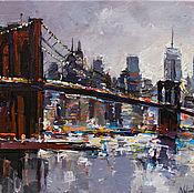 Картины и панно handmade. Livemaster - original item Brooklyn Bridge - New York City - Evening cityscape. Handmade.