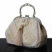 Сумки и аксессуары handmade. Livemaster - original item Purse vintage style, Cream, bag with embroidery, Swarovski. Handmade.