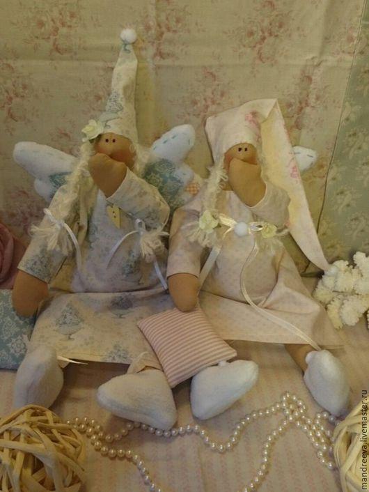 Куклы Тильды ручной работы. Ярмарка Мастеров - ручная работа. Купить Ангелы Утро исполнения желаний.... Handmade. Бледно-розовый