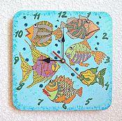 Для дома и интерьера handmade. Livemaster - original item Watch children`s wall Fish clock handmade, sea. Handmade.