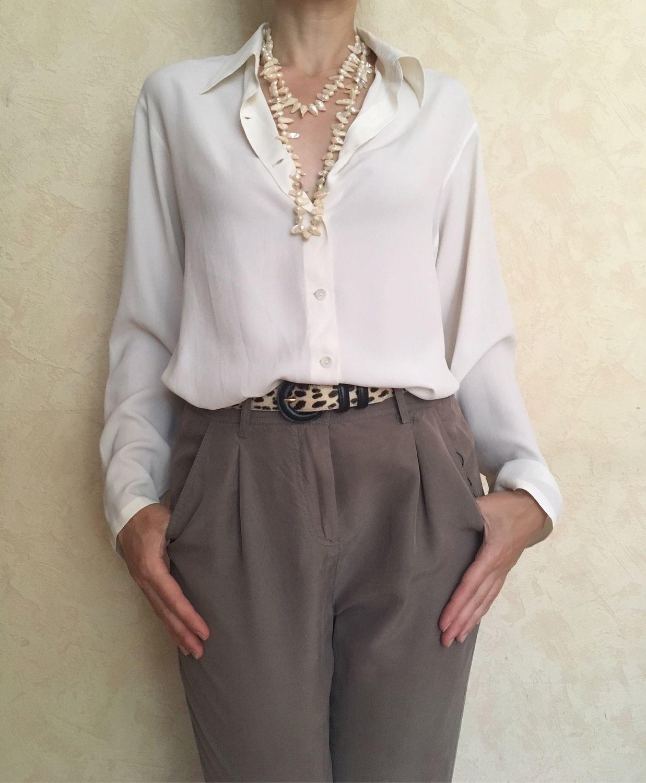 83c09055e36 Блузки ручной работы. Ярмарка Мастеров - ручная работа. Купить Белая блузка  из натурального шелка ...