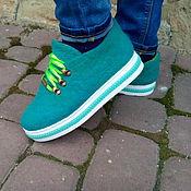"""Обувь ручной работы. Ярмарка Мастеров - ручная работа Валяные туфельки """"Лайм"""". Handmade."""