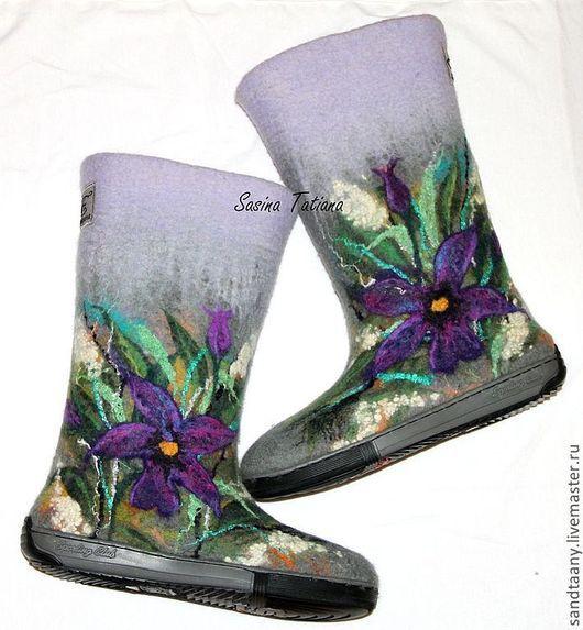"""Обувь ручной работы. Ярмарка Мастеров - ручная работа. Купить Валенки """"Путешествие на Бали"""". Handmade. Серый, валенки для улицы"""