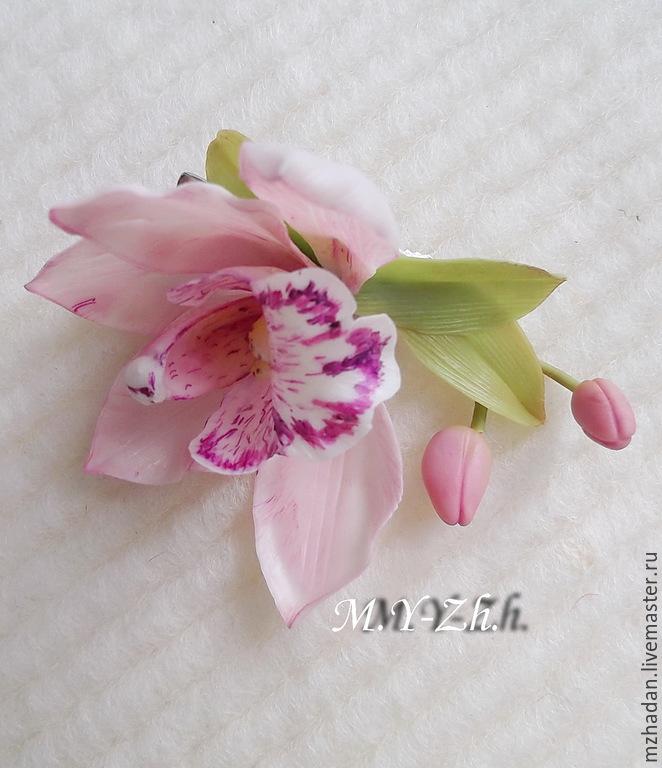 Barrette,barrette,barrette with Orchid flower barrette, polymer clay barrette handmade