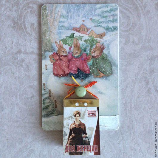 """Прихожая ручной работы. Ярмарка Мастеров - ручная работа. Купить Панно-подвес для отрывного календаря """"Рождество"""". Handmade. Панно настенное"""
