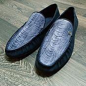 Обувь ручной работы handmade. Livemaster - original item Men`s moccasins, made of genuine ostrich and nubuck leather, in stock!. Handmade.
