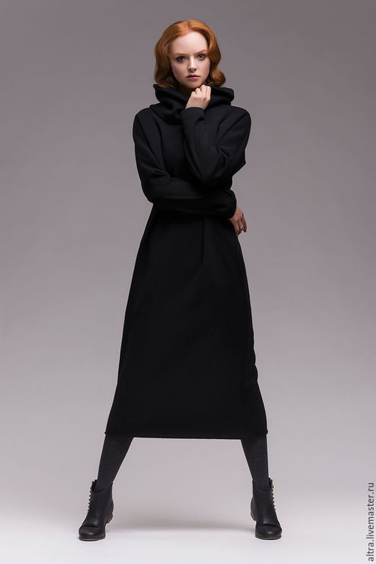 Платья ручной работы. Ярмарка Мастеров - ручная работа. Купить Платье длинное утеплённое со съёмным воротником. Handmade. платье