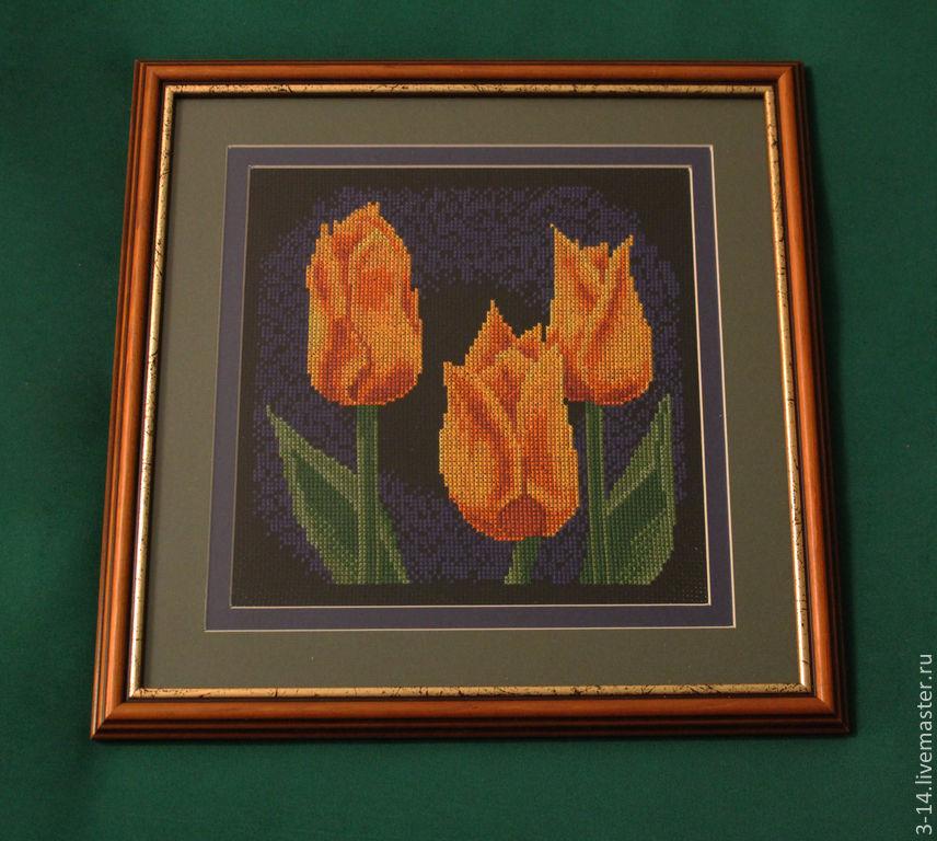 Желтые тюльпаны. Вышивка крестиком, Картины цветов, Москва, Фото №1