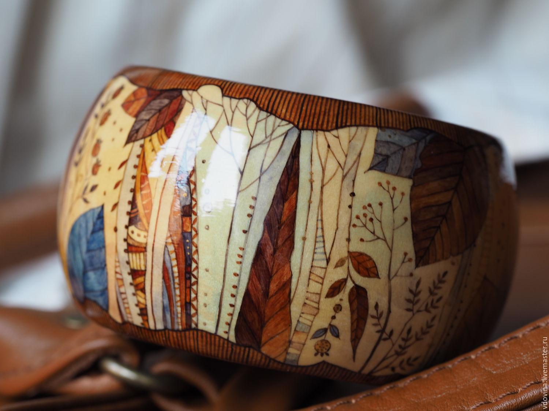 Браслет деревянный с росписью