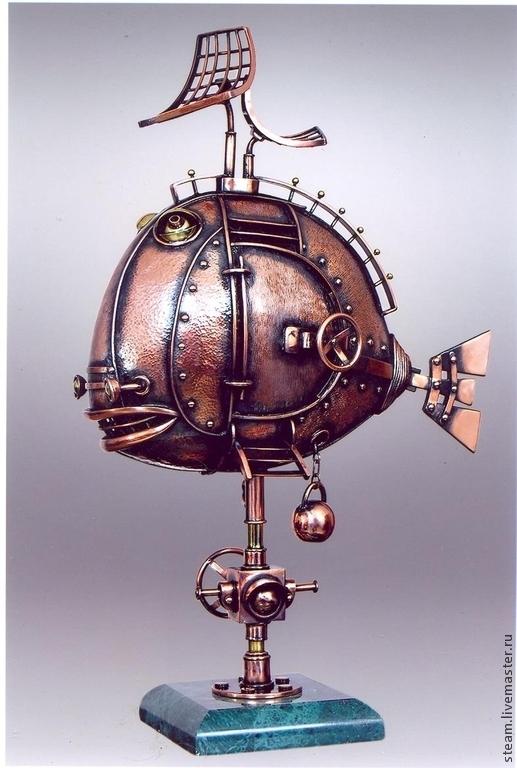 """Статуэтки ручной работы. Ярмарка Мастеров - ручная работа. Купить Стимпанк рыба """"Наутилус"""". Handmade. Разноцветный, рыба стимпанк, скульптура"""