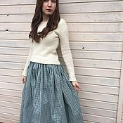 "Одежда handmade. Livemaster - original item Green cotton skirt ""Scottish cage"". Handmade."