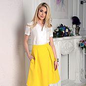 Одежда ручной работы. Ярмарка Мастеров - ручная работа Юбка со складками летняя, желтая юбка. Handmade.