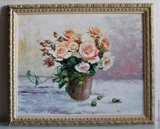 Картины цветов ручной работы. Ярмарка Мастеров - ручная работа. Купить розы в вазе. Handmade. Картина в подарок, масло