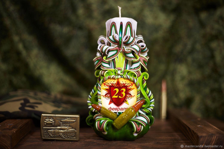 Резная свеча на День Защитника Отечества. 23 февраля, Свечи, Москва,  Фото №1