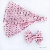 Диадемы ручной работы. Ярмарка Мастеров - ручная работа Розовый горошек бантики резинки, косынка на голову для девочки. Handmade.