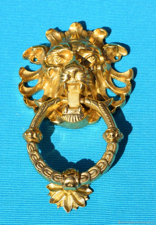 'Leo'. Door knocker-handle.Brass.Germany, Vintage interior, Trier,  Фото №1