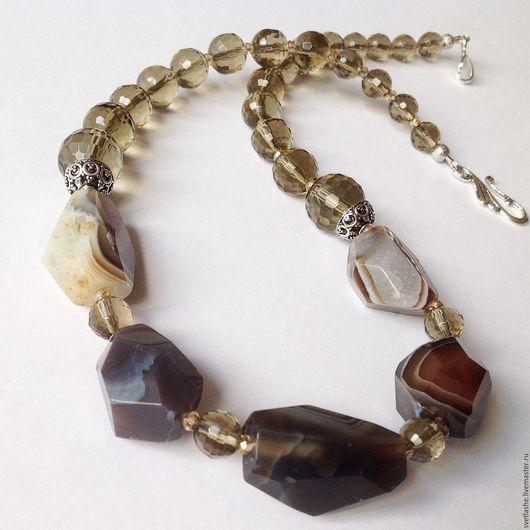 Бусы колье ожерелье из Бразильского Агата раухтопаза дымчатого кварца купить в подарок девушке женщине любимой подруге маме украшение на шею из натуральных камней