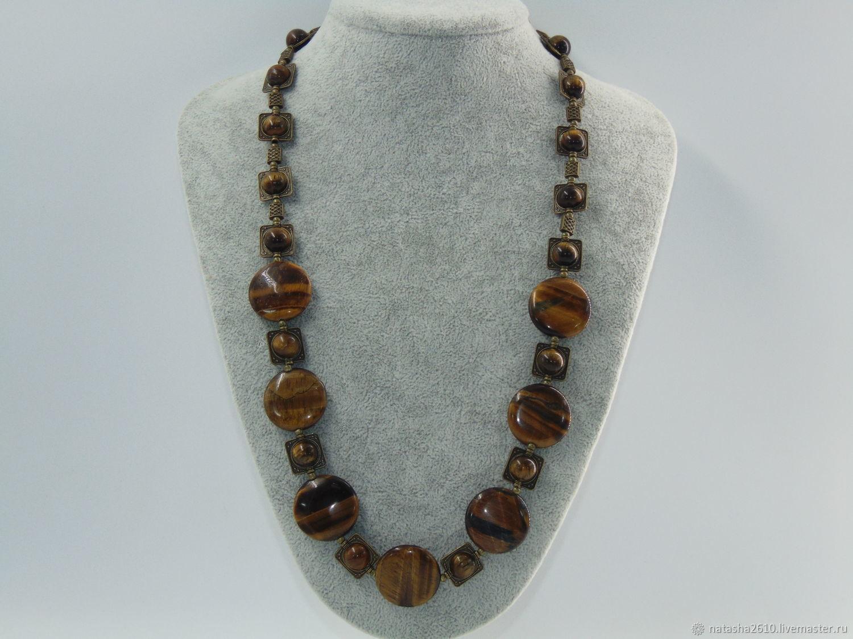 Necklace made of natural stones 'Tiger's eye', Necklace, Velikiy Novgorod,  Фото №1