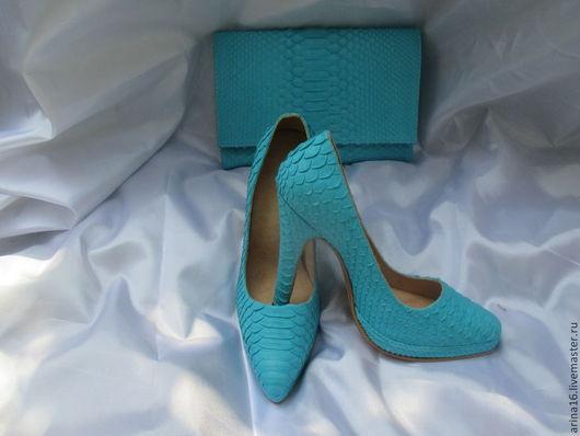 Обувь ручной работы. Ярмарка Мастеров - ручная работа. Купить Туфли из питона. Handmade. Бирюзовый, туфли ручной работы
