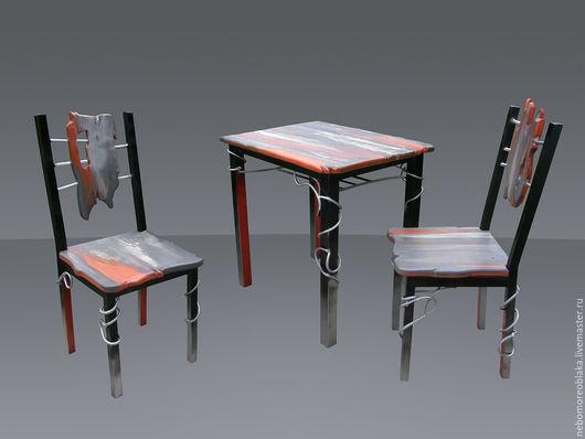 """Мебель ручной работы. Ярмарка Мастеров - ручная работа. Купить стол и два стула """"Рассвет над туманной рекой"""" металл + дерево. Handmade."""