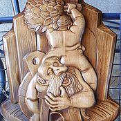 Картины и панно ручной работы. Ярмарка Мастеров - ручная работа Картина деревянная резная Баня - дед и баба. Handmade.