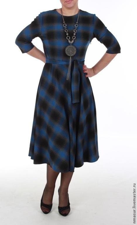 """Платья ручной работы. Ярмарка Мастеров - ручная работа. Купить Платье """"Blue plaid"""". Handmade. Платье в клетку, офисное платье"""