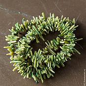 Бусины ручной работы. Ярмарка Мастеров - ручная работа Бусины-иголки из коралла, зеленые. Handmade.