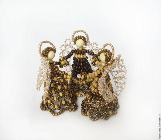 Миниатюрные модели ручной работы. Ярмарка Мастеров - ручная работа. Купить Три  Ангела. Сувенир из бисера и бусин. Handmade.