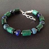 Украшения handmade. Livemaster - original item Men`s silver bracelet of malachite and azurite.. Handmade.