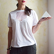 Одежда handmade. Livemaster - original item Women`s loose white t-shirt with insert. Handmade.